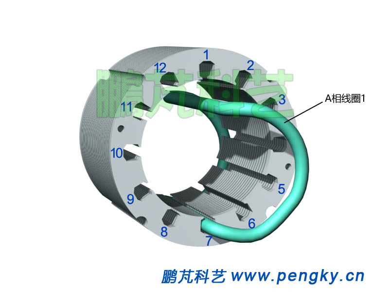 嵌放A相线圈1-发电机模型