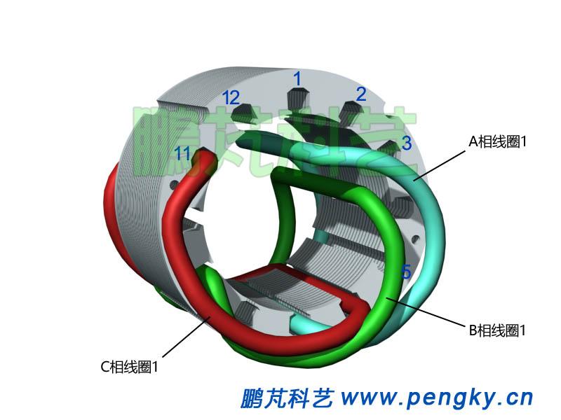 嵌放C相线圈1-发电机模型