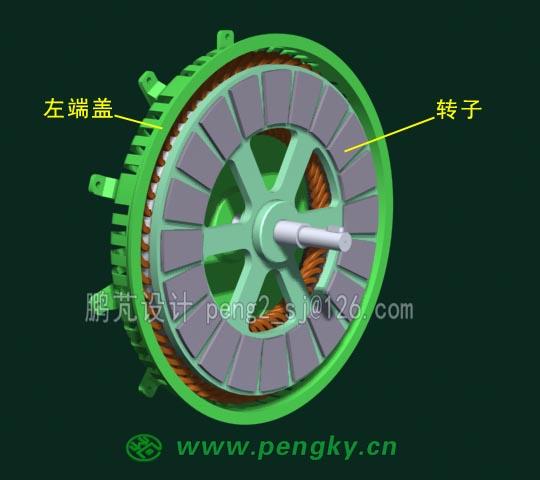 直驱永磁中间转子盘式风力发电机结构