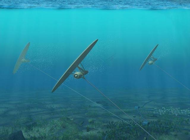 水下发电风筝  有些时候海面下一定深度的海水流速会更快些,把发电