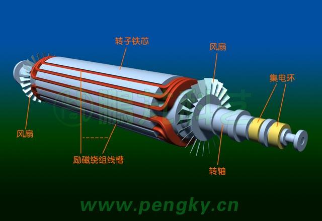 发电机主要由转子与定子组成,由于汽轮机的转速很高,故汽轮发电机的转子只有一对磁极,在额定转速每分钟3000转时输出50赫兹的三相交流电。 这是转子铁芯构造示意图,在铁芯圆周上开有一些槽,用来嵌放励磁绕组,在圆周两侧各有一段槽距大的面称为大齿,就是磁极。由于转子圆周上没有凸出的磁极,称之为隐极式转子。