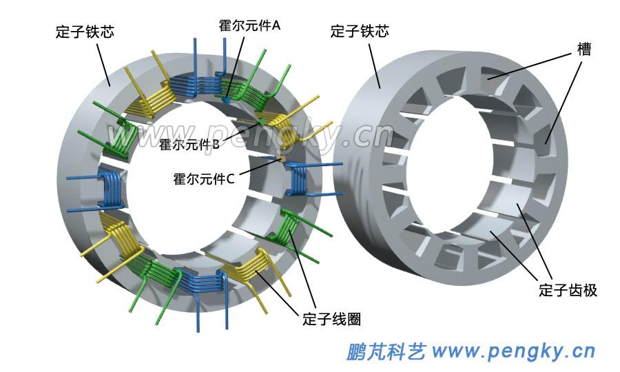 图1--定子铁芯与集中绕组 对于12个槽的分数槽集中绕组永磁电机的转子可以是8个极,10个极,14个极,16个极。本模型的永磁体转子有8个极(4对极),8个永磁体采用表面贴片式,磁极的磁场方向为径向,蓝色永磁体磁场方向向外,为N极;红色永磁体磁场方向向内,为S极。图2左图是转子结构示意图,右图是定子与转子布置图。